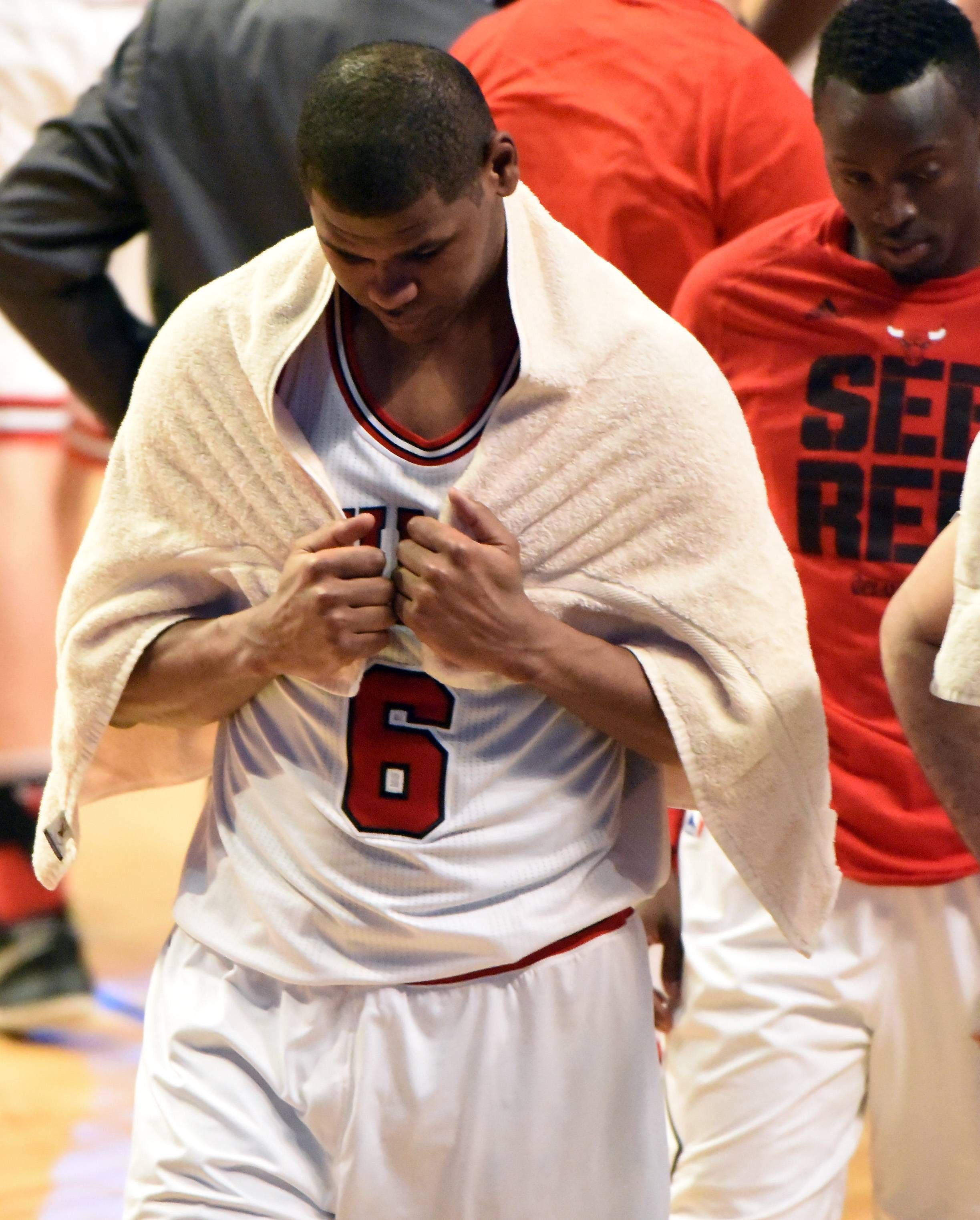 Chicago Bulls forward Cristiano Felicio (6) walks off the court Friday at the United Center in Chicago.