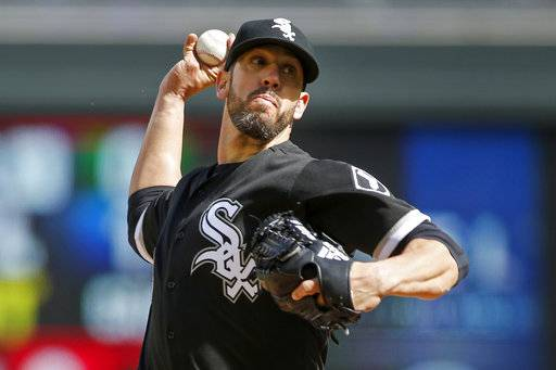Chicago White Sox starting pitcher James Shields throws to the Minnesota Twins in the first inning of a baseball game Sunday, April 16, 2017, in Minneapolis. (AP Photo/Bruce Kluckhohn)