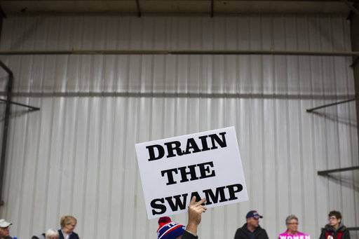 "FILE - In this Oct. 27, 2016 file photo, supporters of then-Republican presidential candidate Donald Trump hold signs during a campaign rally in Springfield, Ohio. The Trump administration insists that ""drain the swamp� is more than a throwaway catchphrase, yet in the last three months, the White House has become less transparent, hired scores of special interest players, raised money from lobbyists and taken no concrete steps to address campaign finance. (AP Photo/ Evan Vucci, file)"