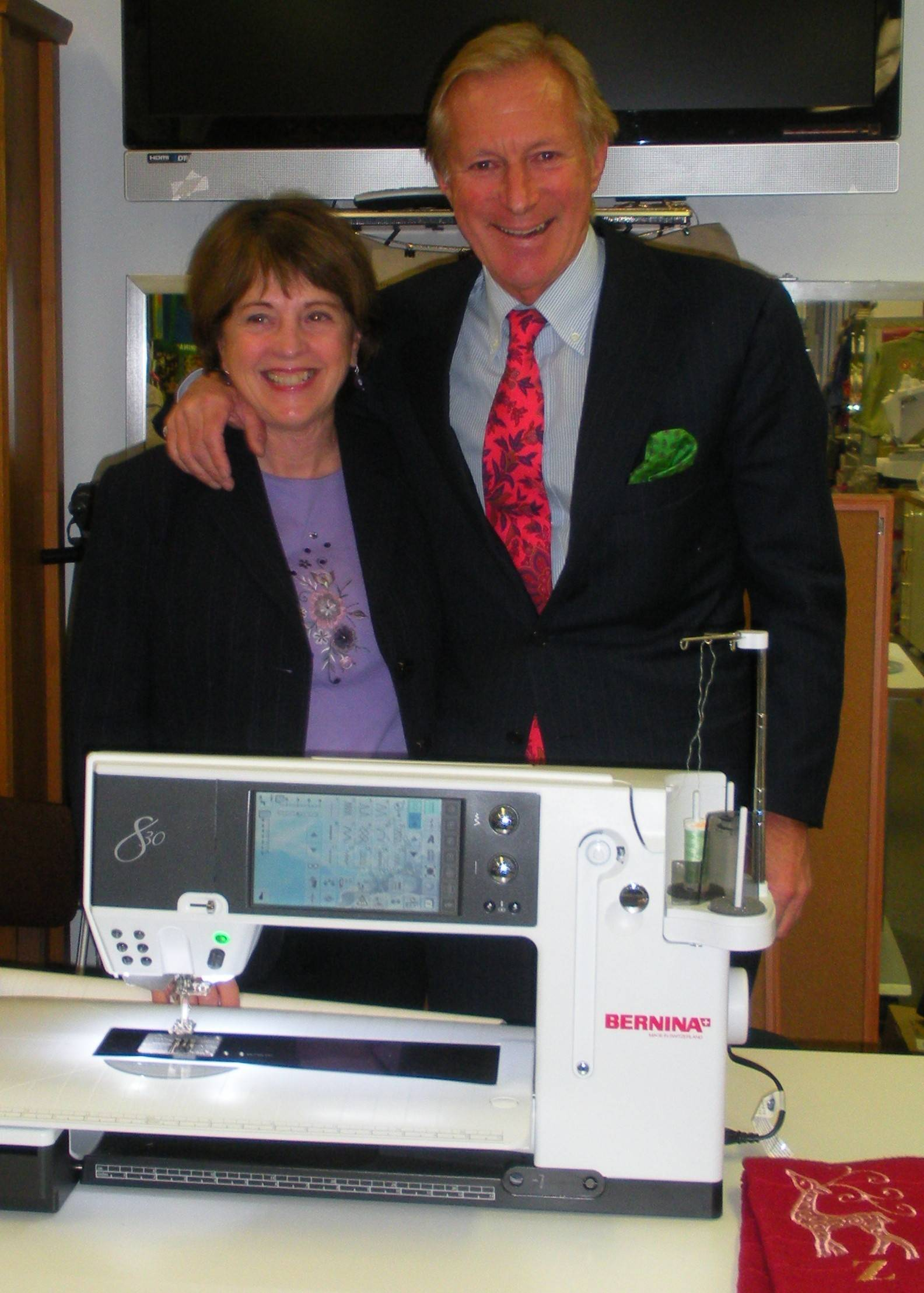 Linda Z's store owner Linda Zachman poses with Hanspeter Ueltschi, fourth generation owner of Bernina International, maker of sewing machines and accessories, in this 2011 file photo.