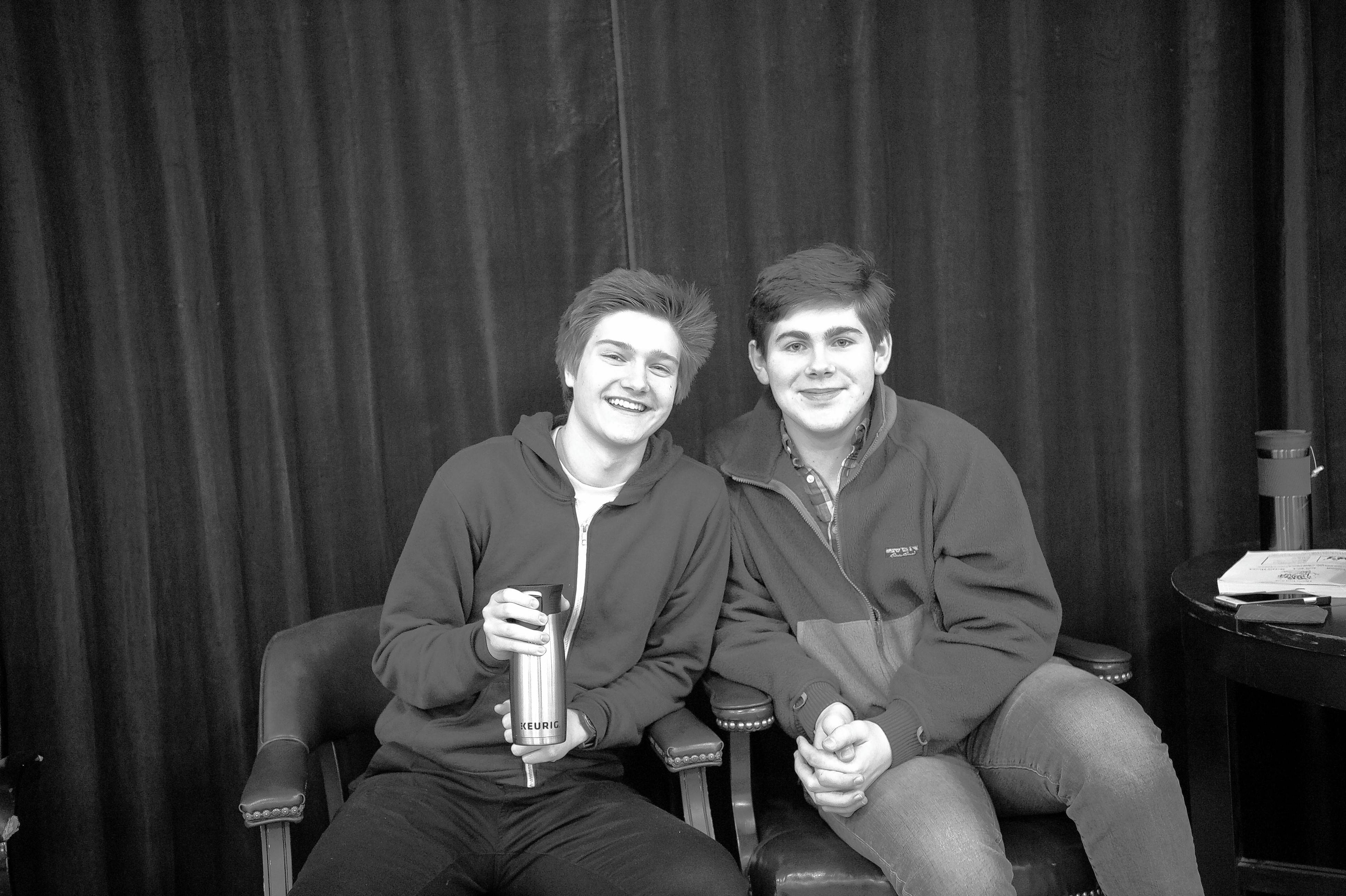 "Grant Kilian, left, and 17-year-old Johnny Rabe of Naperville take a break from rehearsals of ""She Loves Me"" at the Buffalo Grove rehearsal studios for the Marriott Theatre. The two actors alternate in the role of delivery boy Arpad."