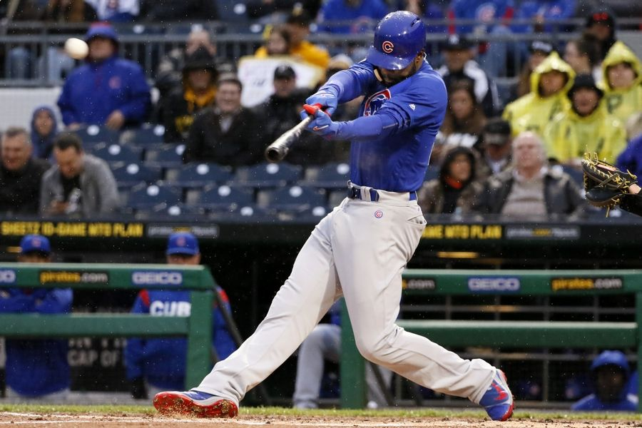 Chicago Cubs' Jason Heyward hits a three-run home run off Pittsburgh Pirates starting pitcher Chad Kuhl in the first inning of a baseball game in Pittsburgh, Monday, April 24, 2017.