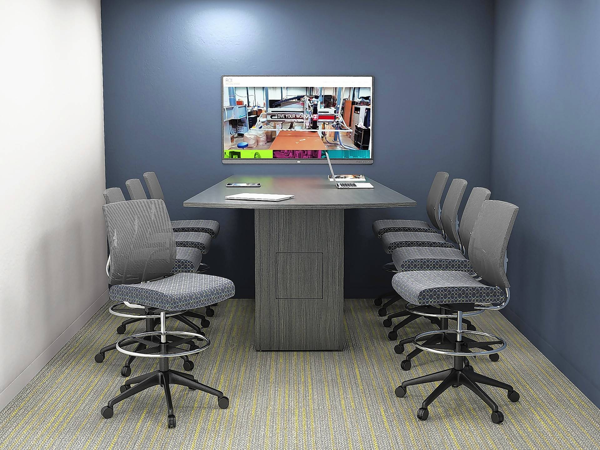 Meeting rooms can be places where employees are excited to gather and share ideas, complete with wall-mounted video equipment for calling in off-site attendees, or displaying presentations.