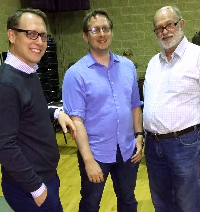 From left, Elgin Master Chorale music director Andrew Lewis with members Matt Stone and Gordon Muirhead. Stone is Muirhead's grandson.