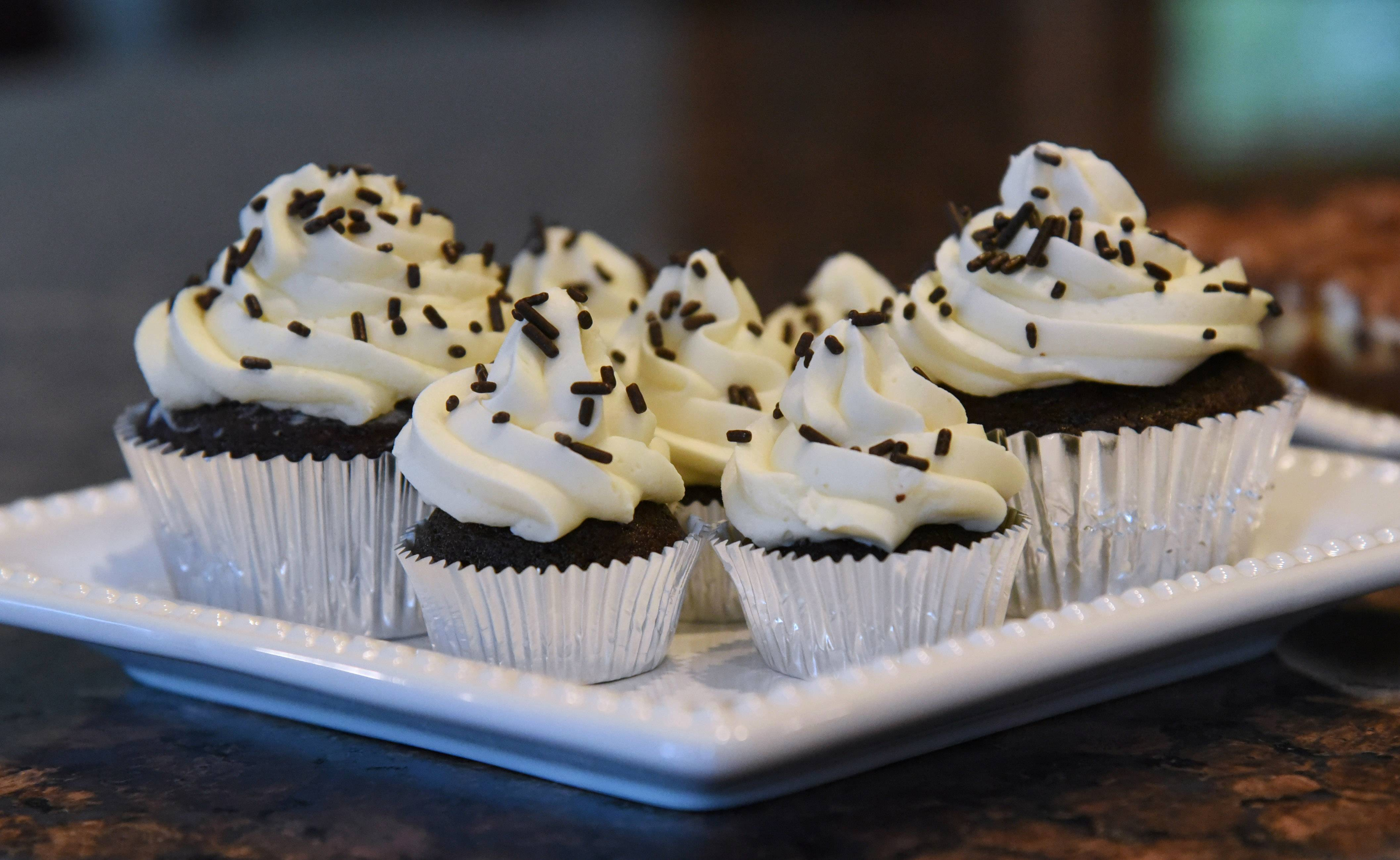 Mocha cupcakes with white chocolate frosting made by Lake Zurich Cook of the Week Kim Schroeder.