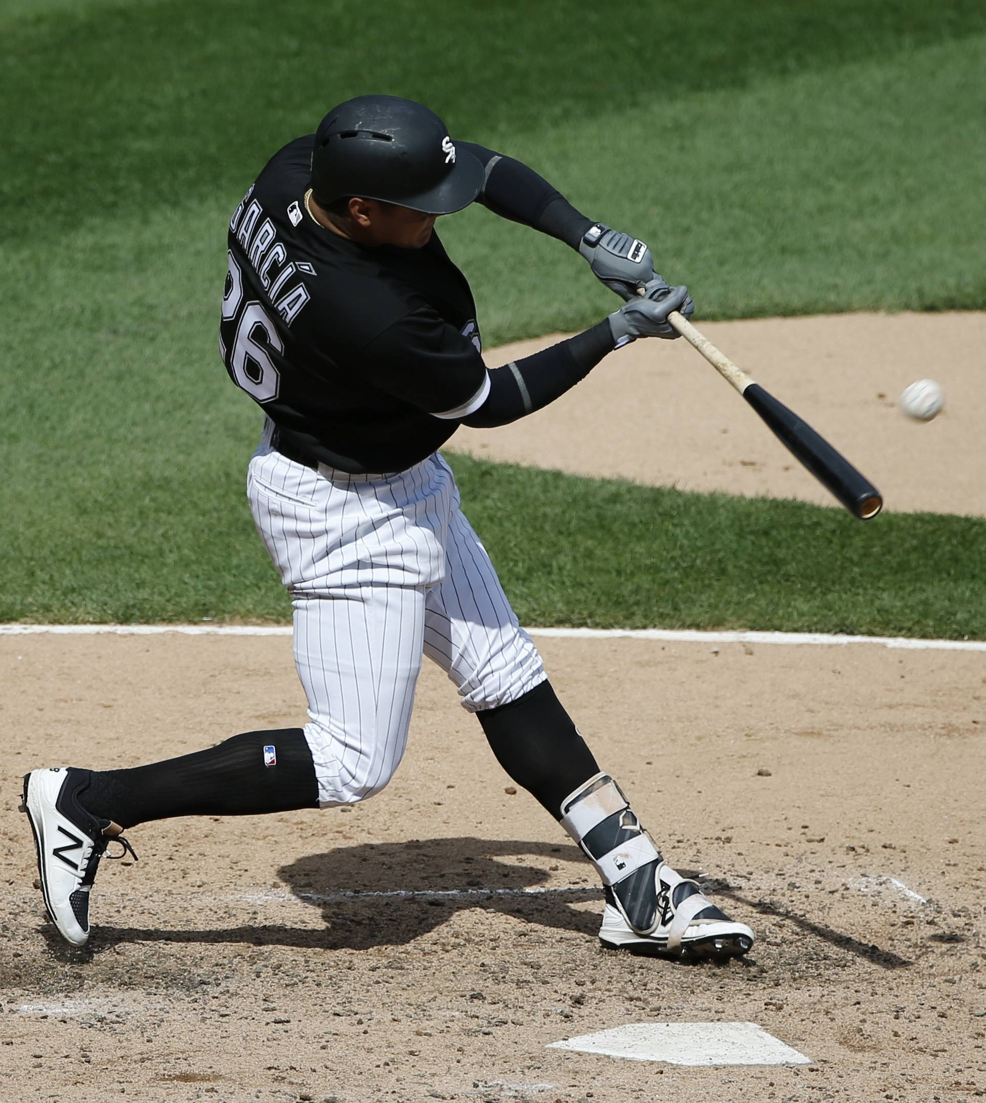 Avisail Garcia hits a two-run home run for the Chicago White Sox during the sixth inning against the Kansas City Royals on Wednesday. Garcia has 15 RBI and 3 home runs to go with his .380 batting average.