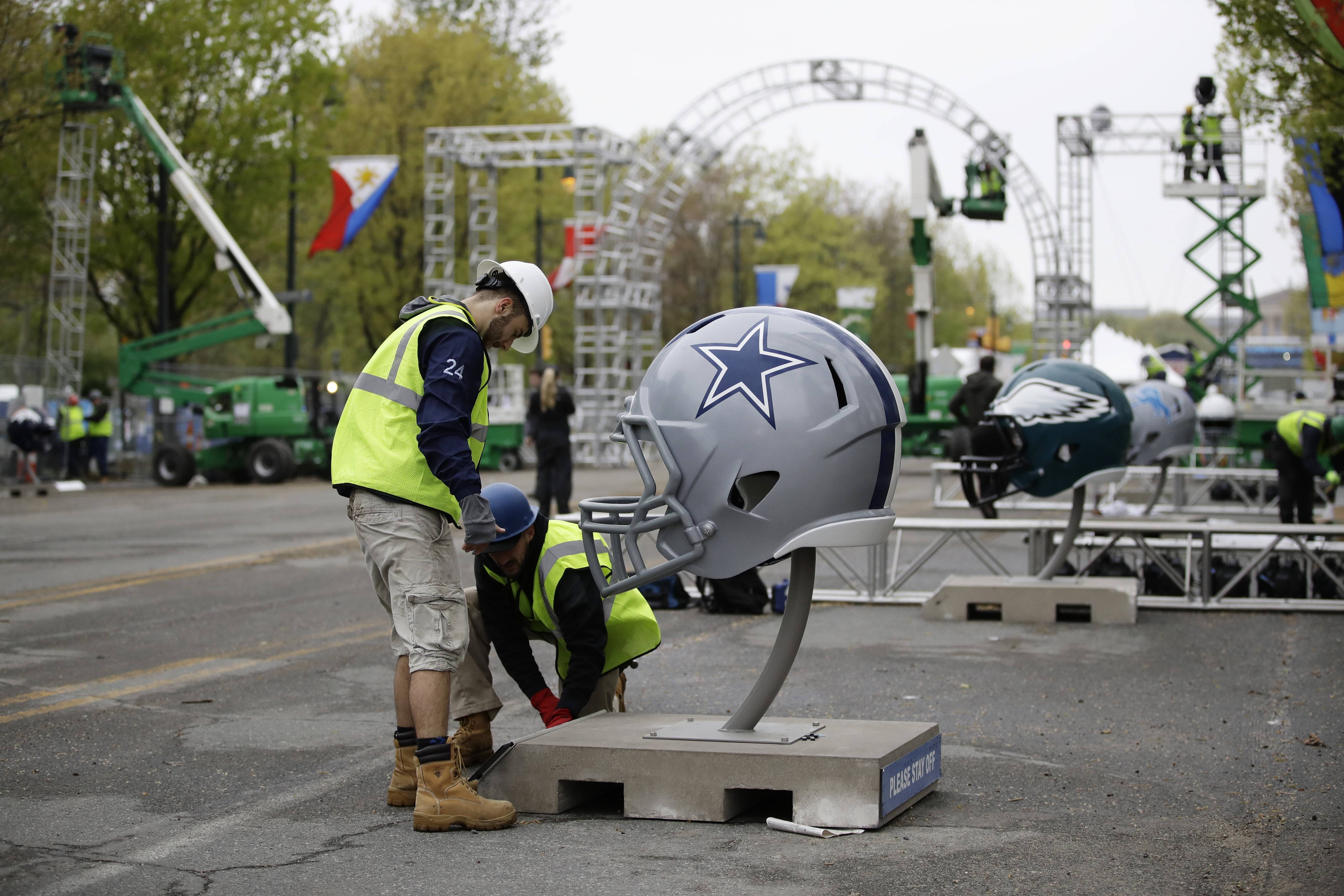 Workers make preparations ahead of the 2017 NFL draft, which will be held at the Philadelphia Museum of Art on Thursday through Saturday.