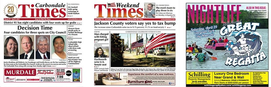 Paddock Publications Inc. purchased three newspapers in southern Illinois -- the Carbondale Times, Weekend Times and Nightlife.