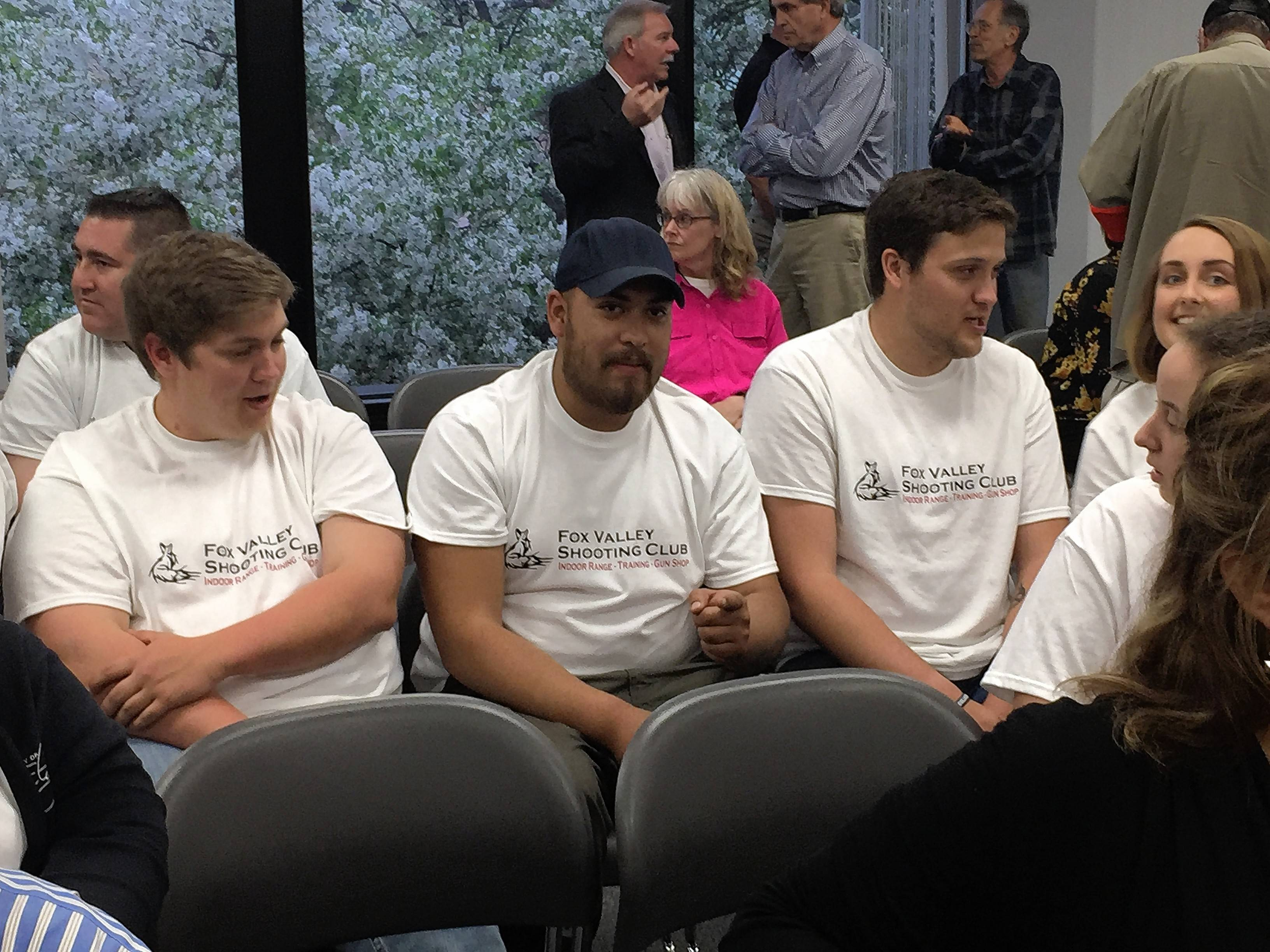 A group of supporters of plans to open Fox Valley Shooting Club in Elgin showed up at the city council meeting on Wednesday.