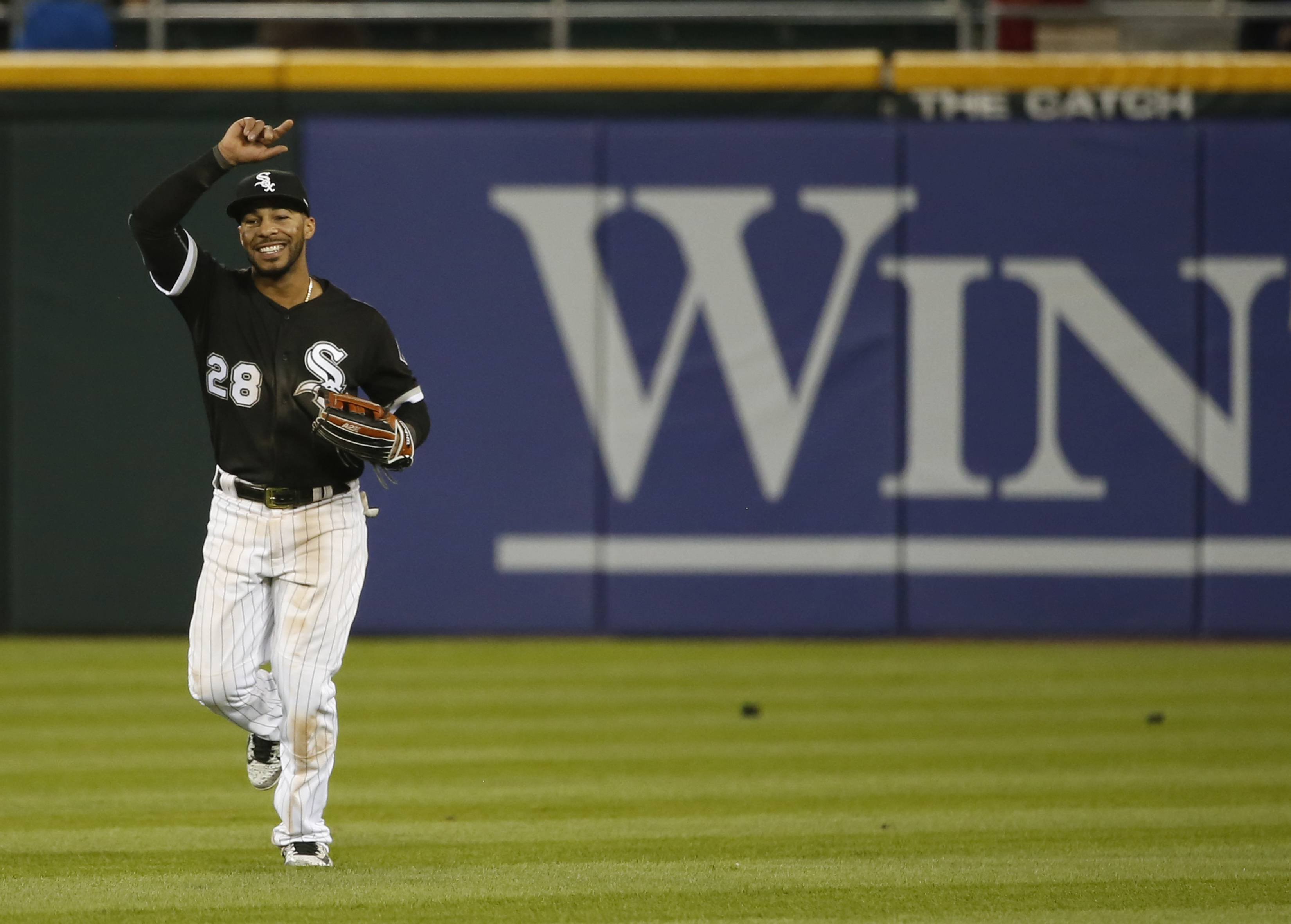 Chicago White Sox's Leury Garcia celebrates the White Sox's 10-5 win over the Kansas City Royals after a baseball game, Tuesday, April 25, 2017, in Chicago. (AP Photo/Charles Rex Arbogast)