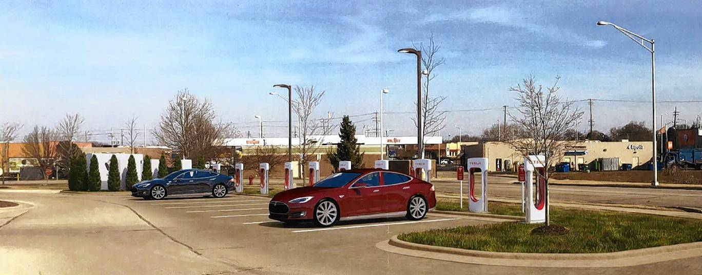 An artist's rendering shows the 10 proposed Tesla charging stations to be installed in the Meijer parking lot.