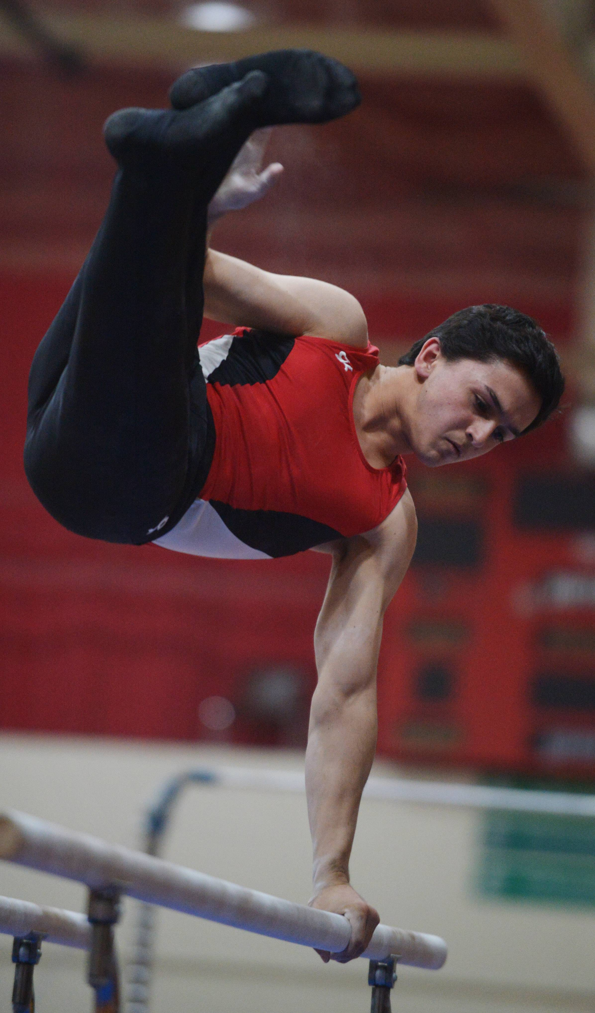 Palatine's Prakash Nigam competes on the parallel bars on his way toa fourth-straight Mid-Suburban League all-around title during the conference meet Friday at Schaumburg.