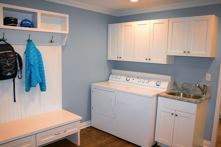 Kitchen & Bath Mart also can design and install cabinets in other areas of the home, such as this mudroom.