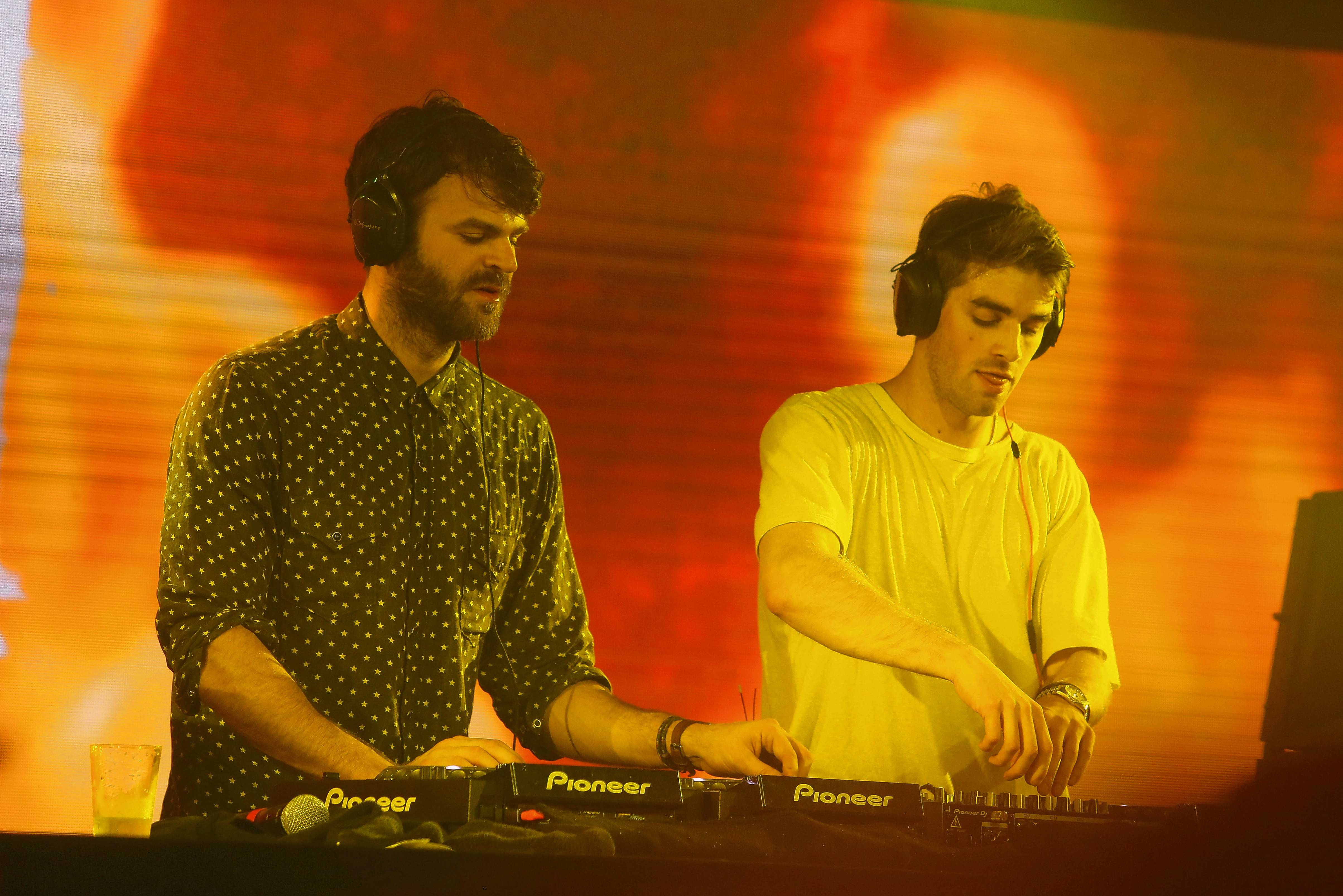 Alex Pall, left, and Drew Taggart of The Chainsmokers played a surprise performance for the Huntley High School prom Saturday at the Hyatt Regency Hotel in Rosemont. They played later that night at the Allstate Arena.