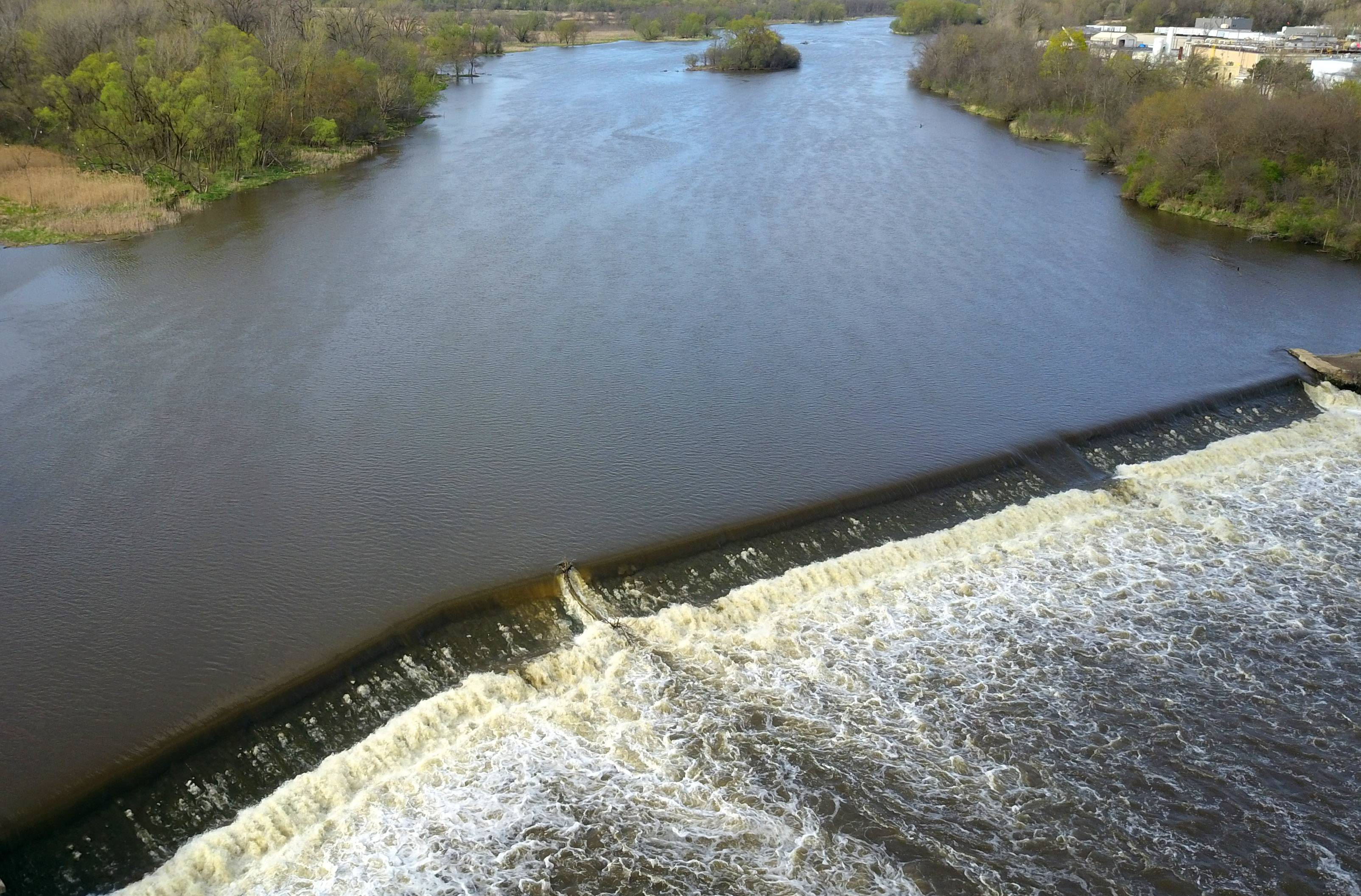 The Carpentersville dam, shown in this Daily Herald drone photo, is one of many on the Fox River experts say should be removed.