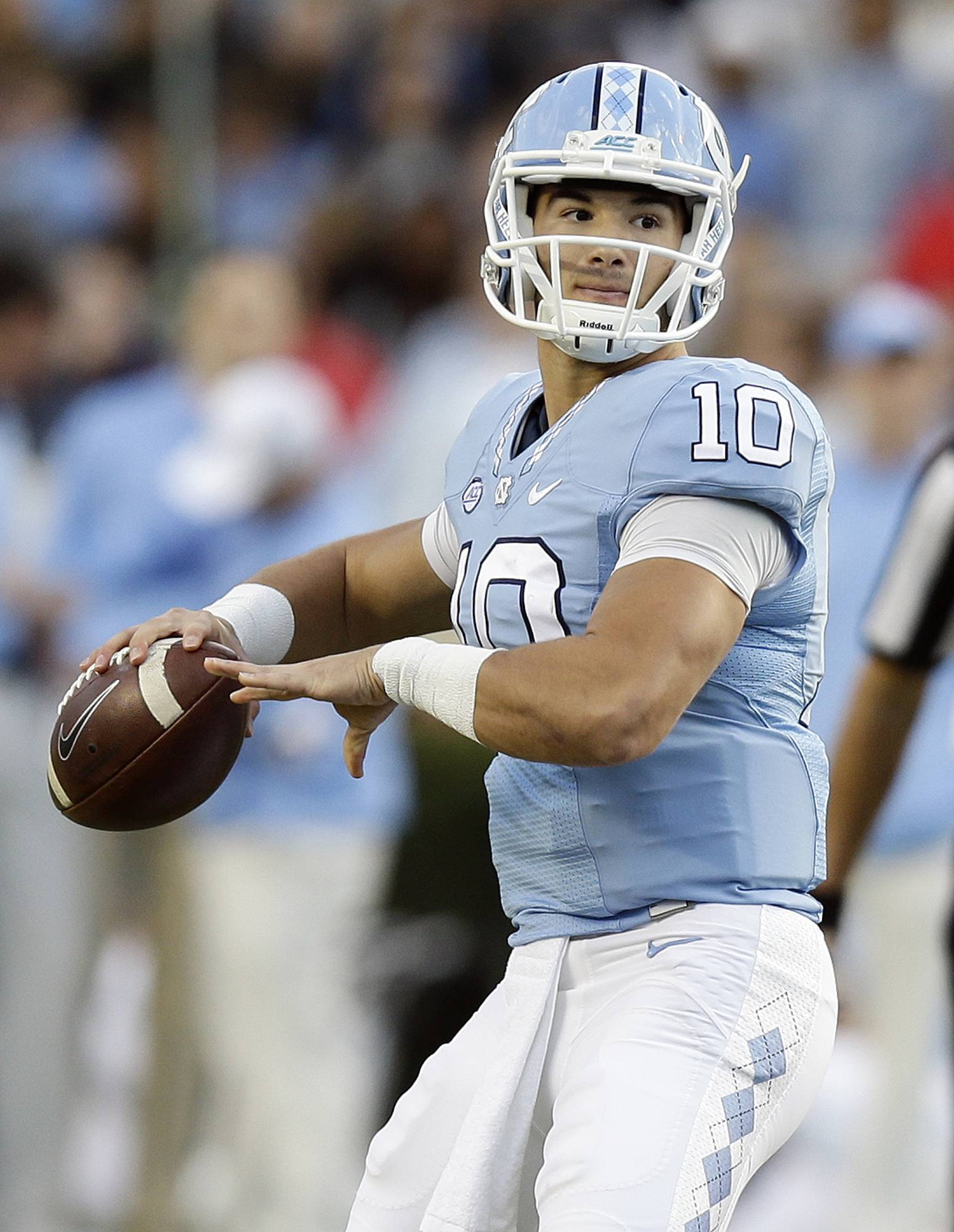 FILE — In this Nov. 19, 2016, file photo, North Carolina quarterback Mitch Trubisky (10) looks to pass against The Citadel during the first half of an NCAA college football game in Chapel Hill, N.C. The NFL Draft will be held April 27-29, 2017, in Philadelphia. (AP Photo/Gerry Broome, File)