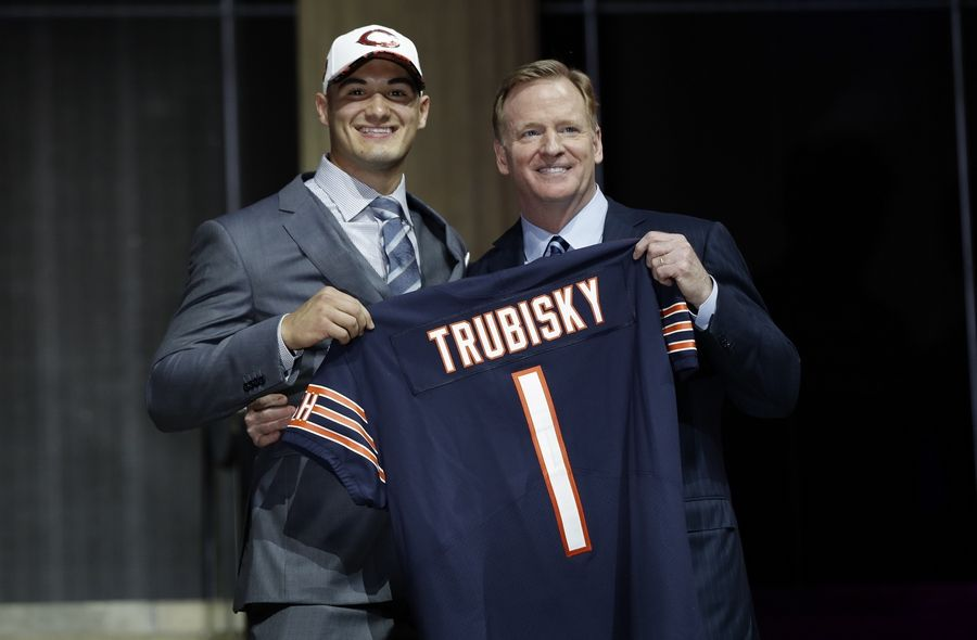 Associated PressMany experts feel the Chicago Bears gave up too much to select North Carolina's Mitch Trubisky, shown here with NFL Commissioner Roger Goodell on draft night, with the second pick in the first round.