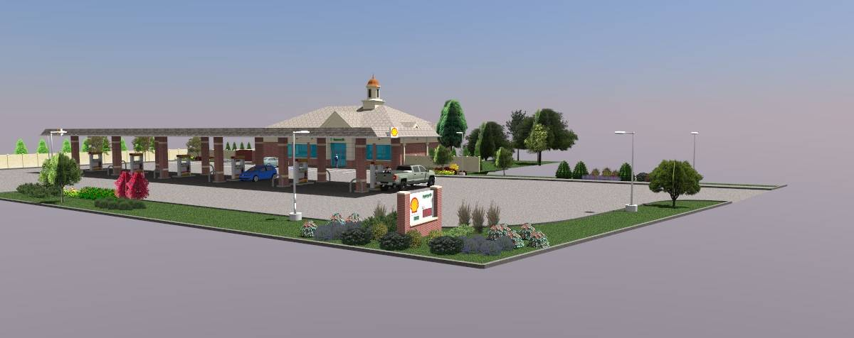 Glen Ellyn trustees have agreed to finalize the sale of village-owned land to developers of a gas station, shown in this rendering.