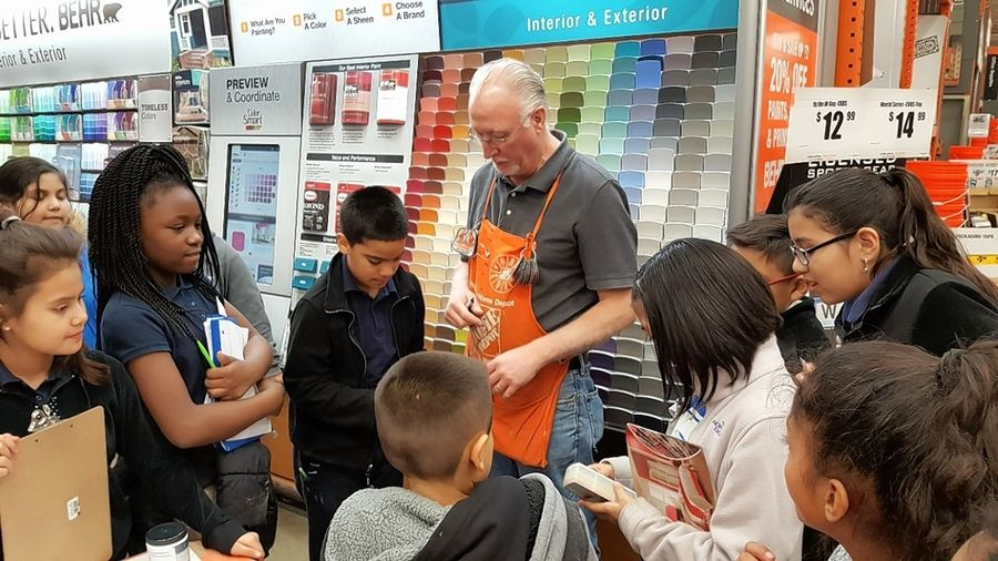 Students in the Clearview Elementary Our American Voice group visited a local Home Depot to learn about the basics of painting.