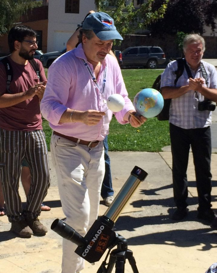 Teacher Charles Fulco, shown preparing for an earlier solar eclipse in Argentina, brings his nationwide tour to Naperville on Thursday, where he'll be discussing the finer points of eclipse watching in anticipation of a total eclipse hitting Southern Illinois on Aug. 21.