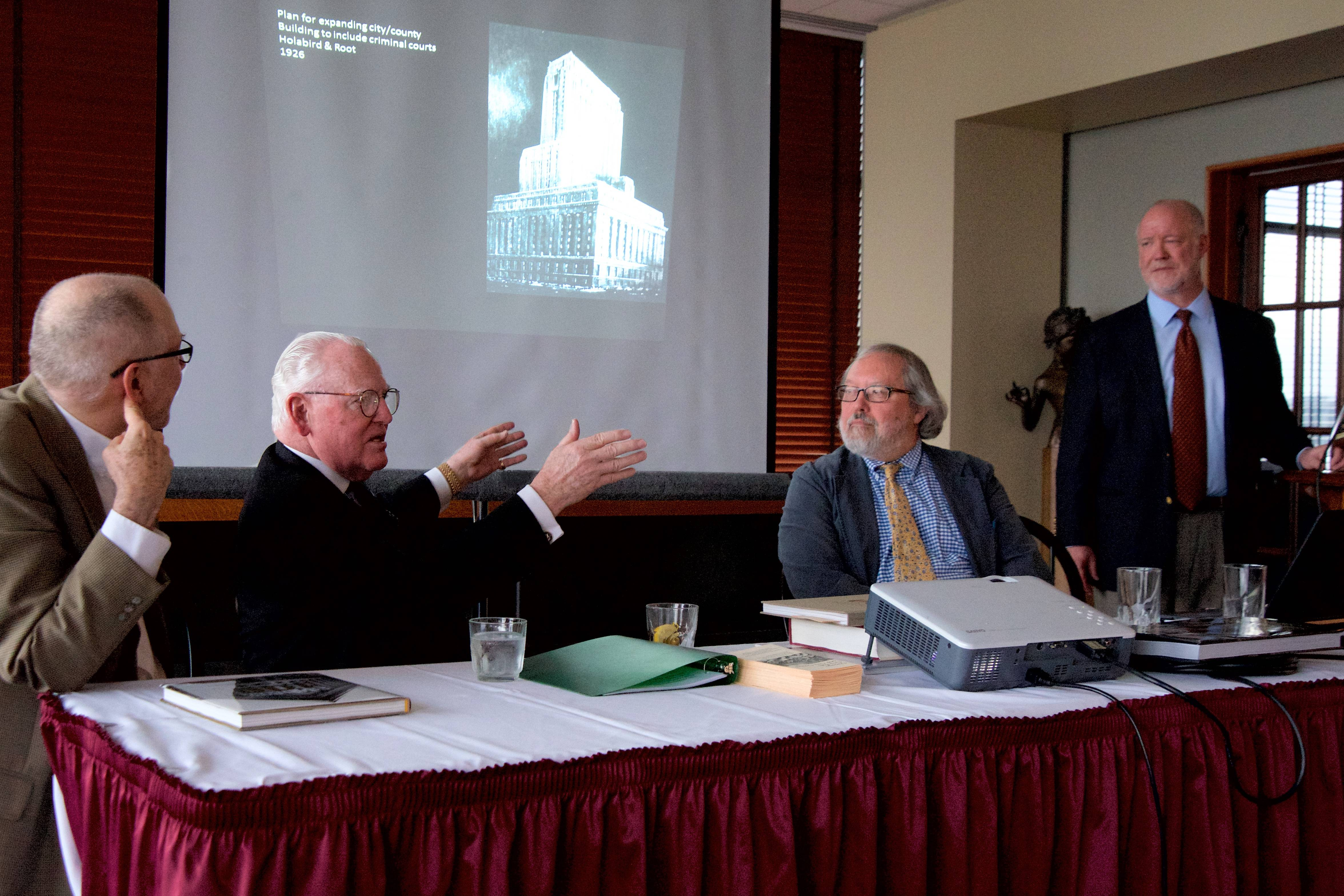 A panel discusses the history and cultural significance of Chicago area architecture, including, from left, Dr. Robert Bruegmann of University of Illinois at Chicago, Chicago Alderman and author Ed Burke, Dr. Kevin Harrington of Illinois Institute of Technology, and Columbia College history professor Lindsay Huge.
