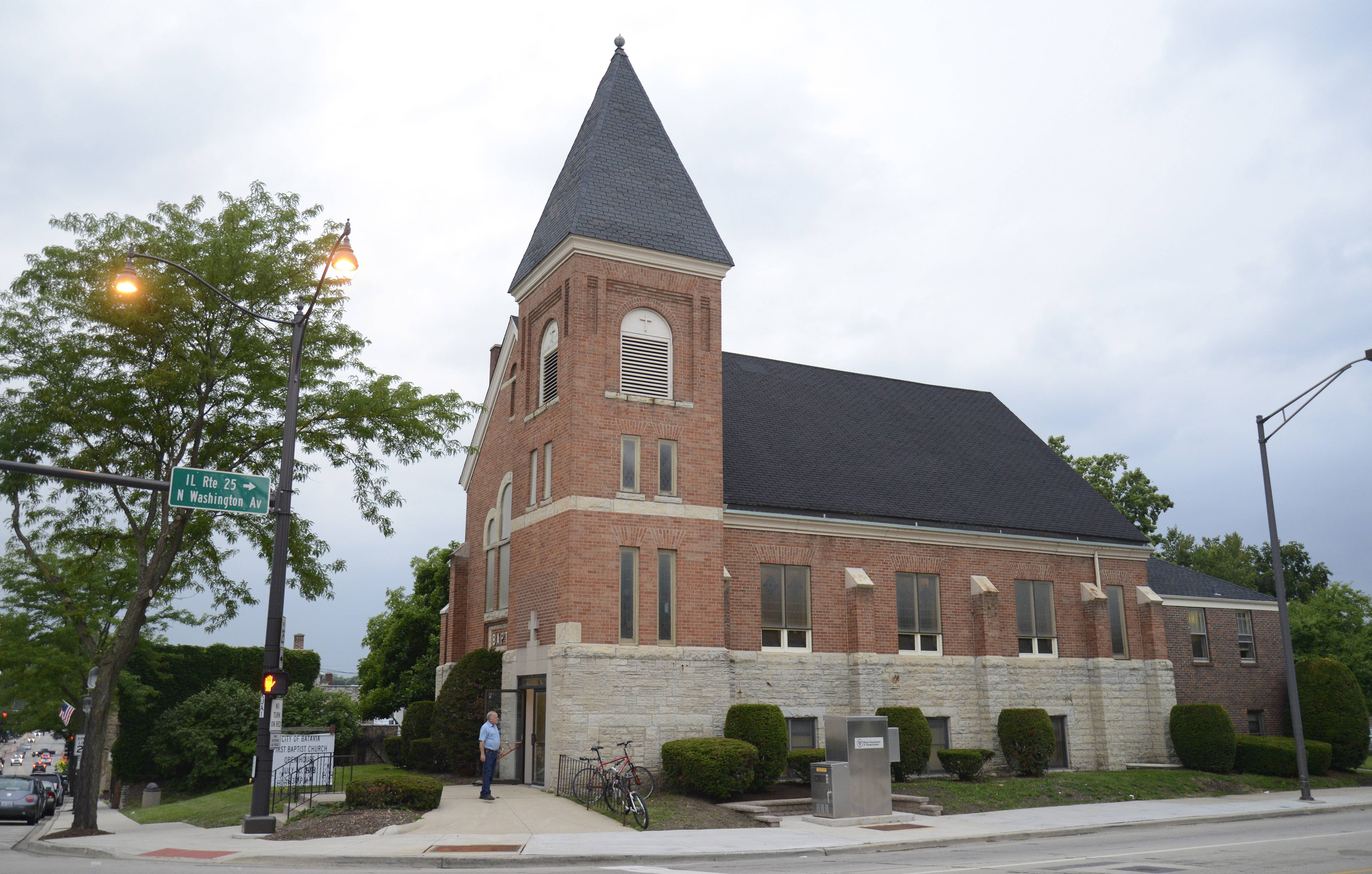 The former First Baptist Church in Batavia will be replaced by the One North Washington Place building.