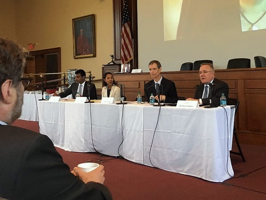 Republican state Rep. Steve Andersson of Geneva, far right, spoke at Harvard about his work to reduce court fees.