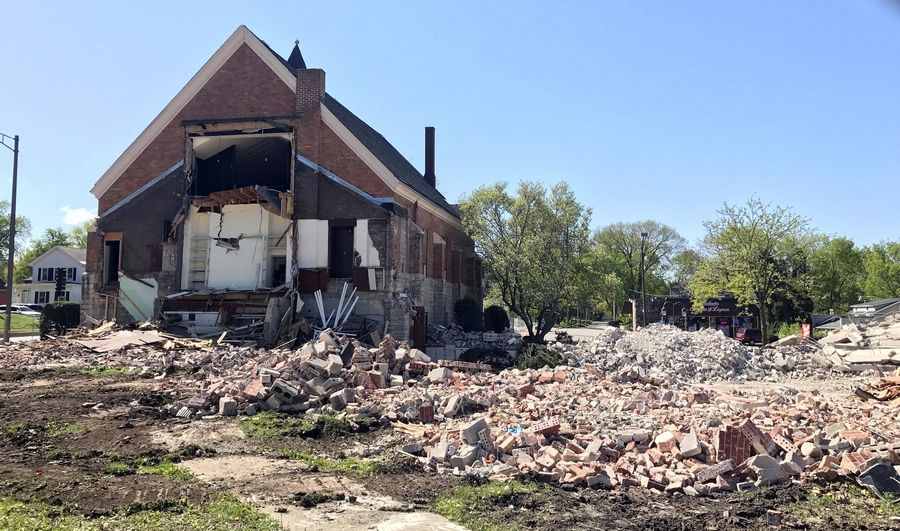 The former First Baptist Church of Batavia is being demolished to make way for the One North Washington Place apartment-and-stores building.
