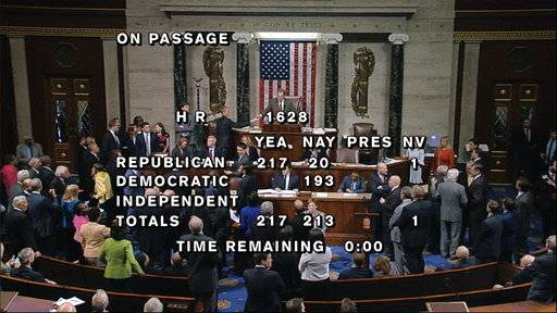 "In this image from House Television, the final total on the vote on the Republicans health care bill is displayed at the Capitol in Washington on Thursday, May 4, 2017. It's ""Trumpcare� now, and Republicans have to answer for it. After dozens of symbolic votes, House Republicans finally pushed through a bill to gut Barack Obama's Affordable Care Act, with President Donald Trump hailing the replacement as ""a great plan� that has ""really brought the Republican Party together.� (House Television via AP)"