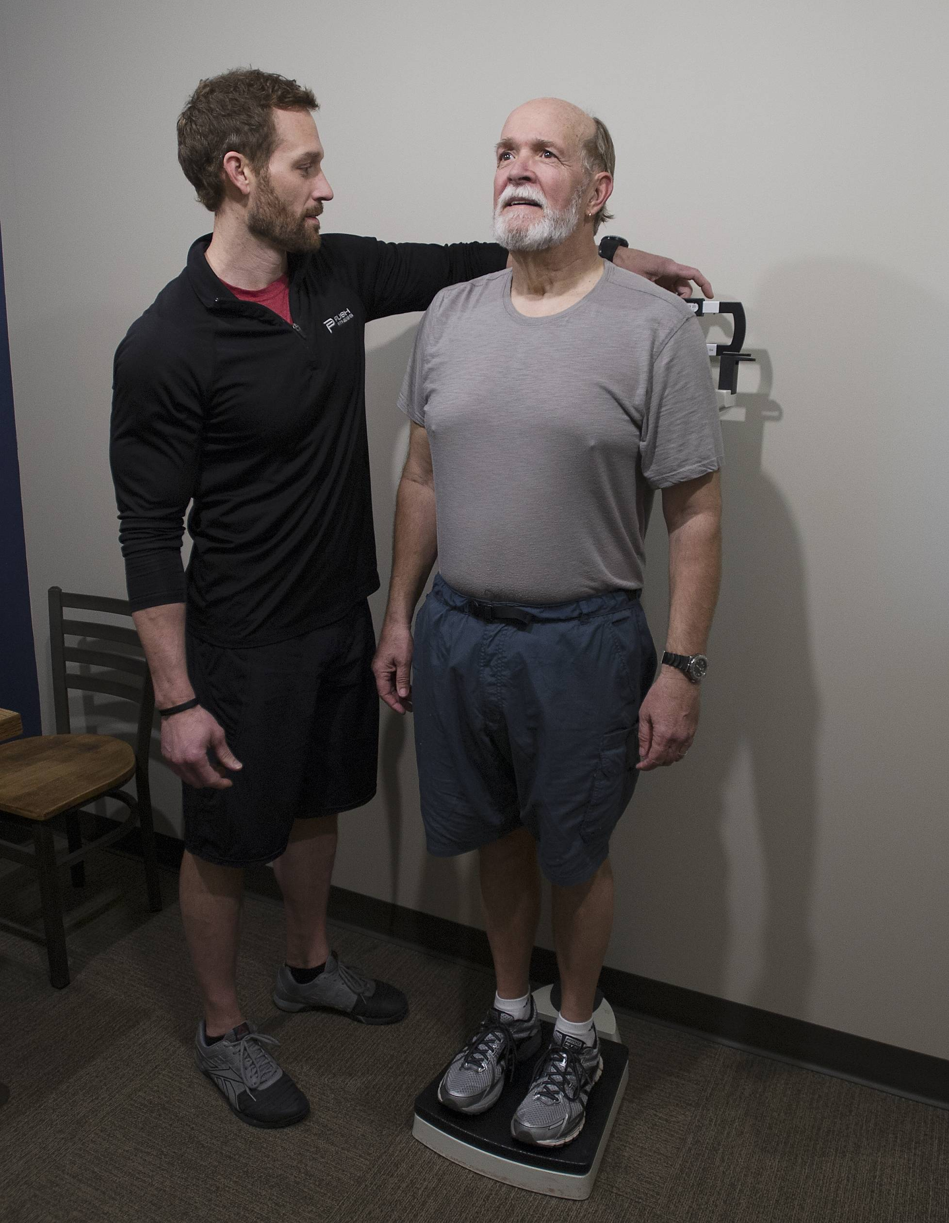 Russ Page of Antioch has his final weigh-in at Push Fitness in Schaumburg by his trainer Josh Steckler, owner of Push Fitness.