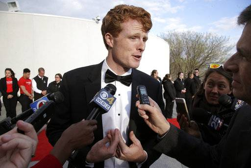 Rep. Joseph P. Kennedy III, D-Mass., speaks with members of the media as he arrives at the John F. Kennedy Presidential Library and Museum before the 2017 Profile in Courage award ceremonies, Sunday, May 7, 2017, in Boston. Former President Barack Obama is to be presented with the award Sunday.