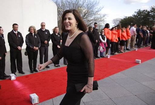 Victoria Reggie Kennedy, widow of Sen. Edward M. Kennedy, arrives at the John F. Kennedy Presidential Library and Museum before the 2017 Profile in Courage award ceremonies, Sunday, May 7, 2017, in Boston. Former President Barack Obama is to be presented with the award Sunday.