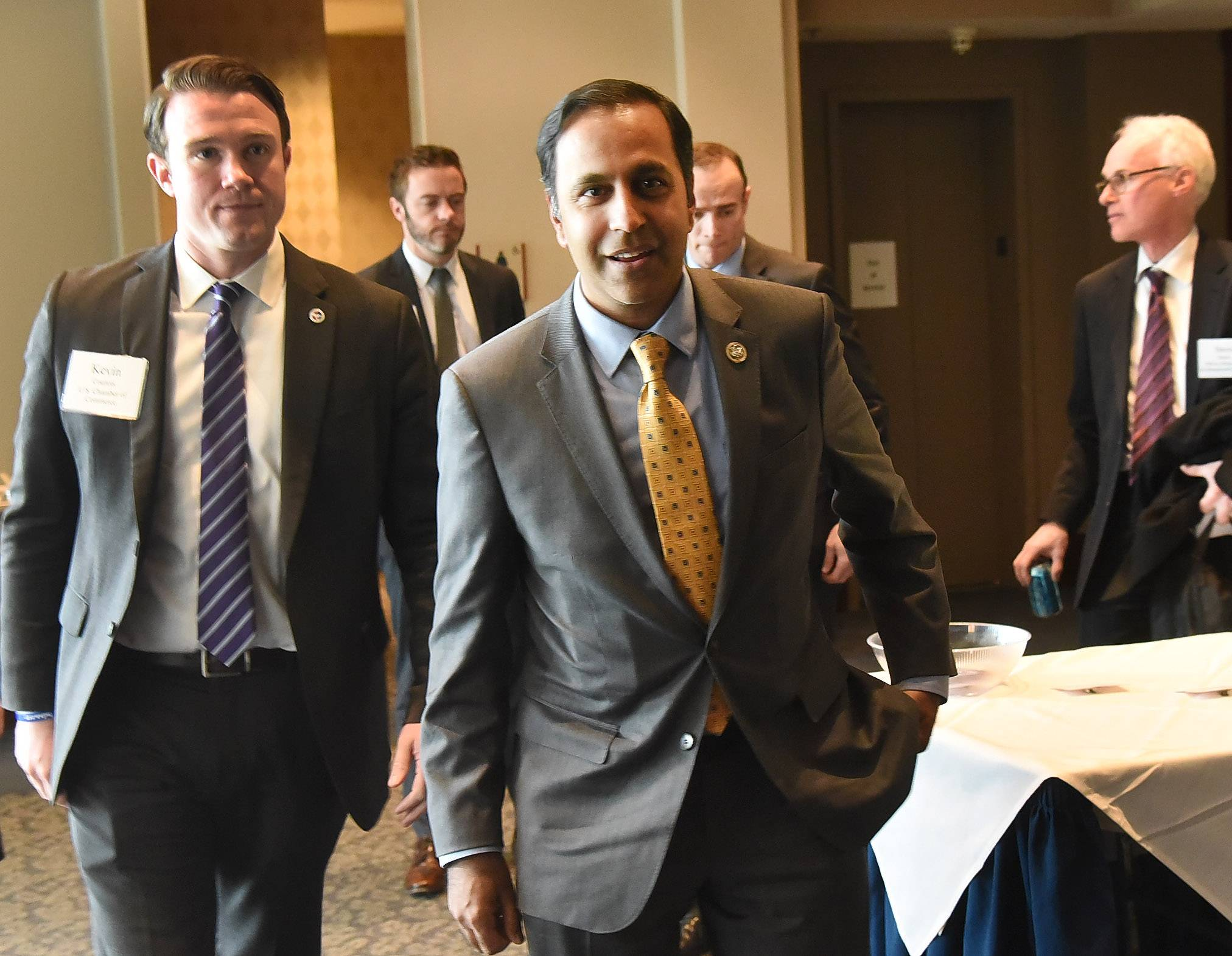 U.S. Rep. Raja Krishnamoorthi, a Schaumburg Democrat, arrives Monday to speak at Stonegate Conference and Banquet Centre in Hoffman Estates. It was part of the U.S. Chamber of Commerce's Freshman Forum series.