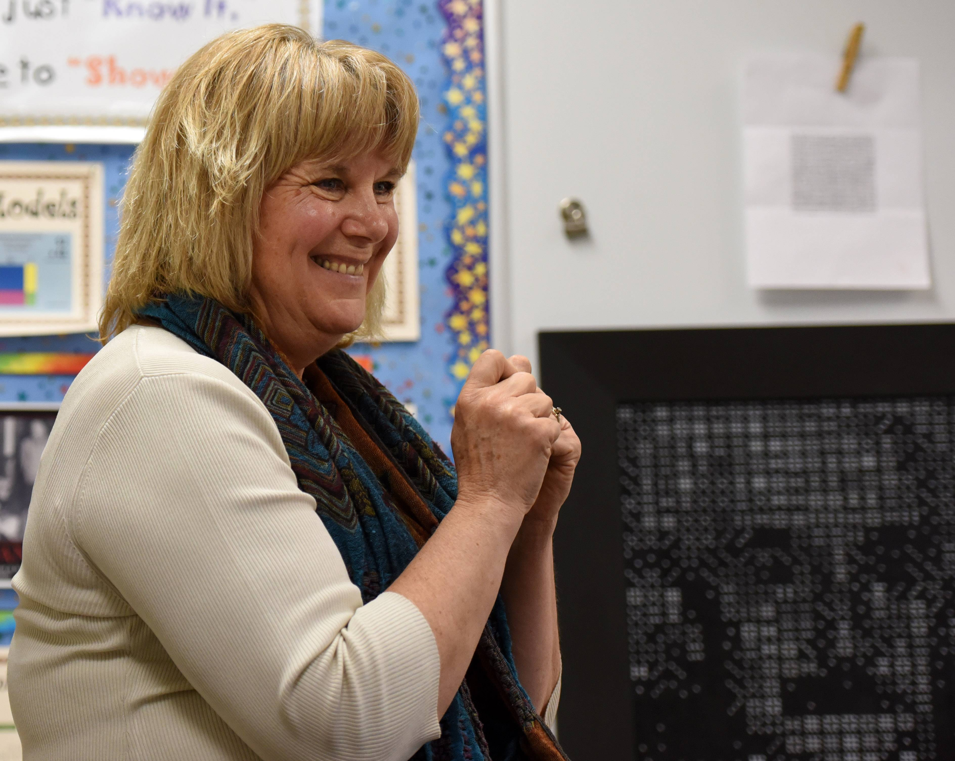 Nancy Krasinski, an acceleration and enrichment teacher at Williamsburg Elementary School in Geneva, draws lessons from famed physicist Albert Einstein to inspire her students.