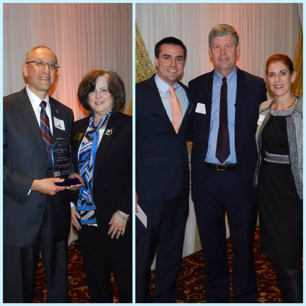 (left) Hon. Mark J. Lopez, Associate Judge, Circuit Court of Cook County receiving the NWSBA 2017 Public Service Award; Miriam Cooper, NWSBA Treasurer: (right) Michael Johnson, Recipient of the 2017 Timothy C. Evans Law School scholarship; Stephen Daday, President, NWSBA Foundation; Hon. Shelley Sutker-Dermer, Presiding Judge, Second District, Circuit Court of Cook County.Paula K. Krueger