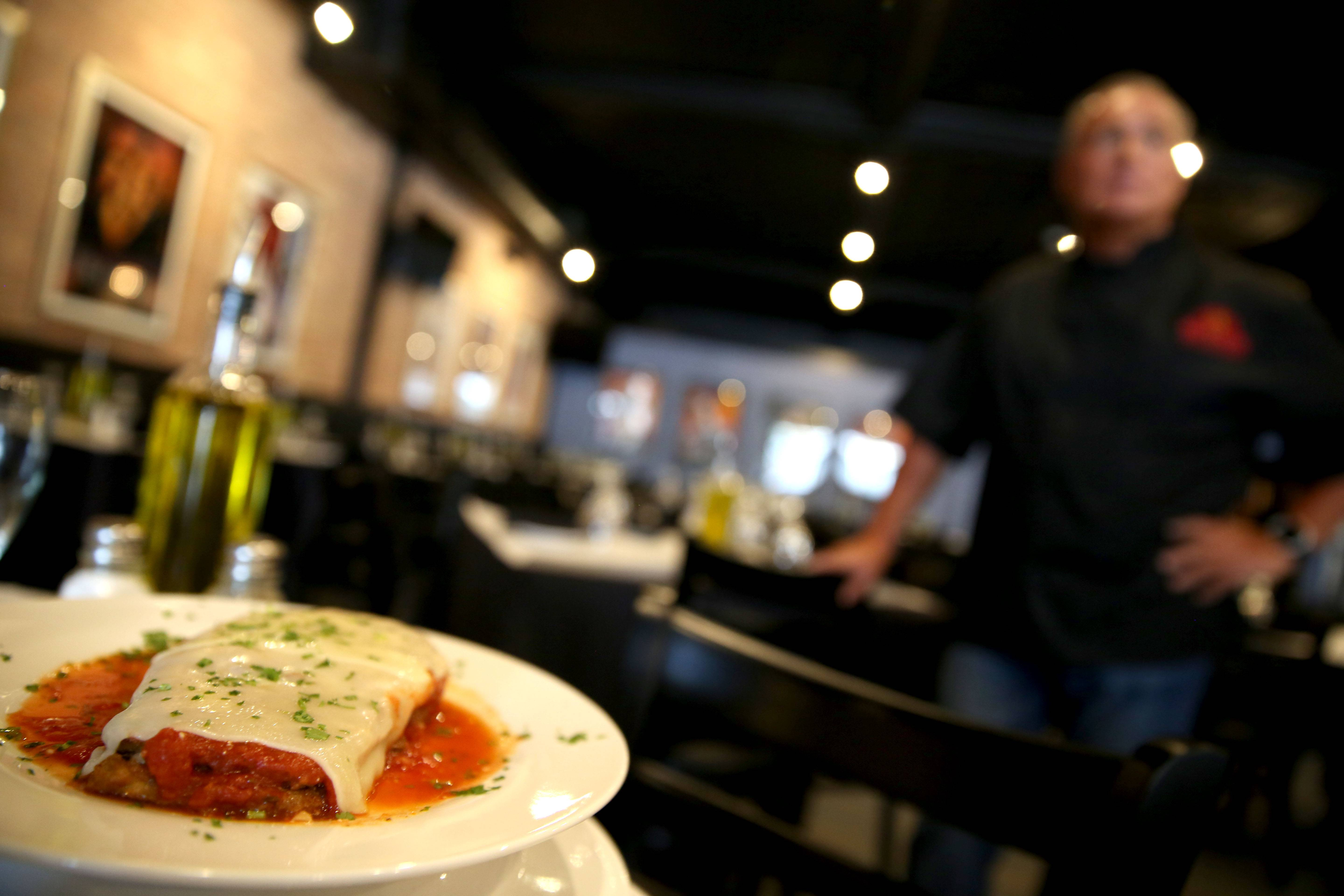 The tender eggplant parmigiana graces the menu at Michael Palmieri's Mia Passione in Woodstock.