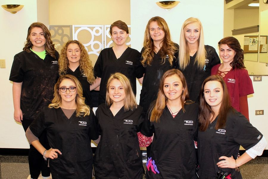 TCD Cosmetology students who placed first, second or third in esthetics, cosmetology or nail technique at the recent SkillsUSA Illinois conference pose behind their models. Top-finishing cosmetology students are Kayleigh Quinn, back row, from left, Lea Vicari, Jacqueline Pawl, Bogdana Tomei, Jamie Shorner and Athina Darrus. Models included Courtney Fauser-Warren, front, from left, Brittany Cichon, Esme Gonzalez and Maya Rebhan.