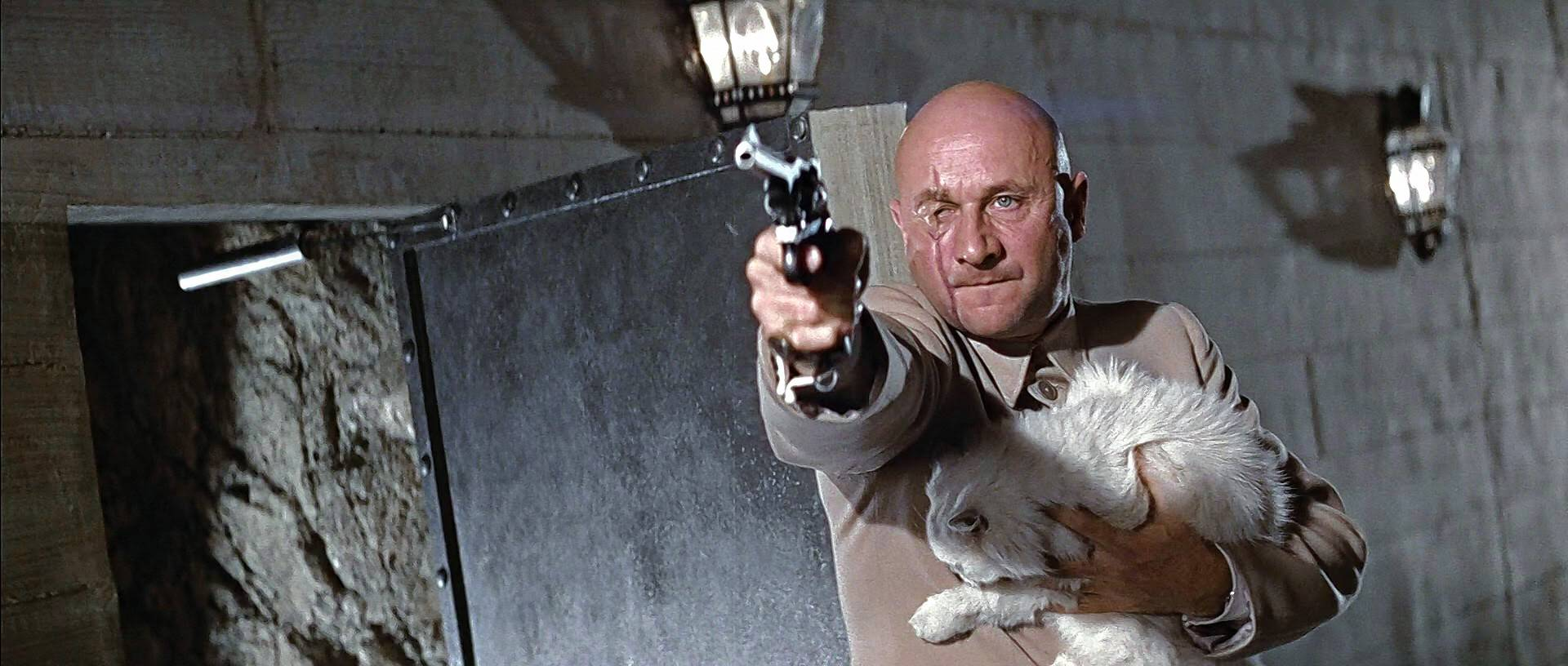 "Blofeld (Donald Pleasence) gets the drop on James Bond in ""You Only Live Twice,"" celebrating its 50th anniversary at the Pickwick Theatre in Park Ridge May 18."