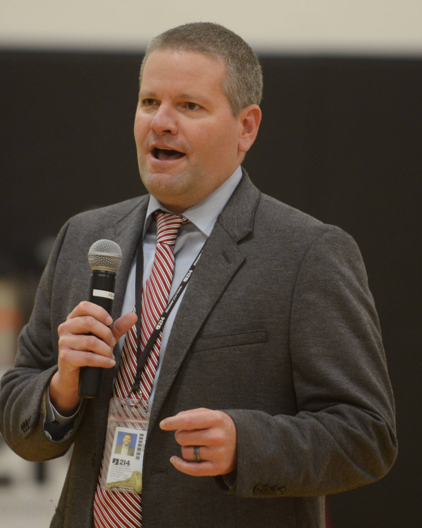 Northwest Suburban High School District 214 Superintendent David R. Schuler speaks to 110 students who gathered to sign letters of intent to become teachers as part of an Educator Prep event Thursday at Forest View Education Center in Arlington Heights.