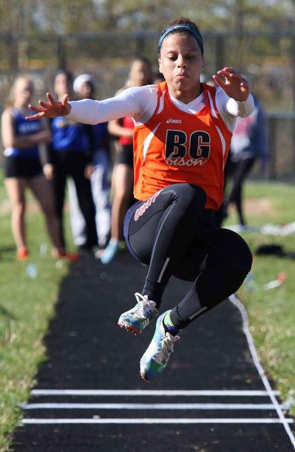 Buffalo Grove's Nya Carr attempts her jump on Thursday at Grayslake North.