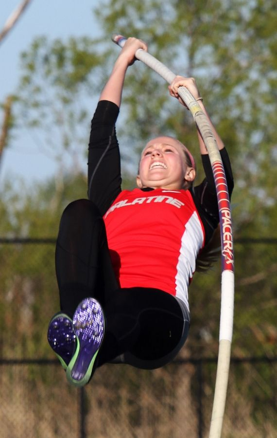 Palatine's Jess Streepy heads for a pole vault victory during the Class 3A girls track sectional Thursday at Grayslake North.