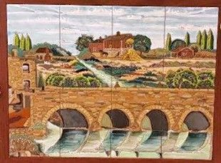 "This small study depicts one of five murals in the series ""Streaming History"" by Santa Fe artist Debora Duran-Geiger, which is set to be dedicated June 23 along a new stretch of Riverwalk at the Water Street District in downtown Naperville."