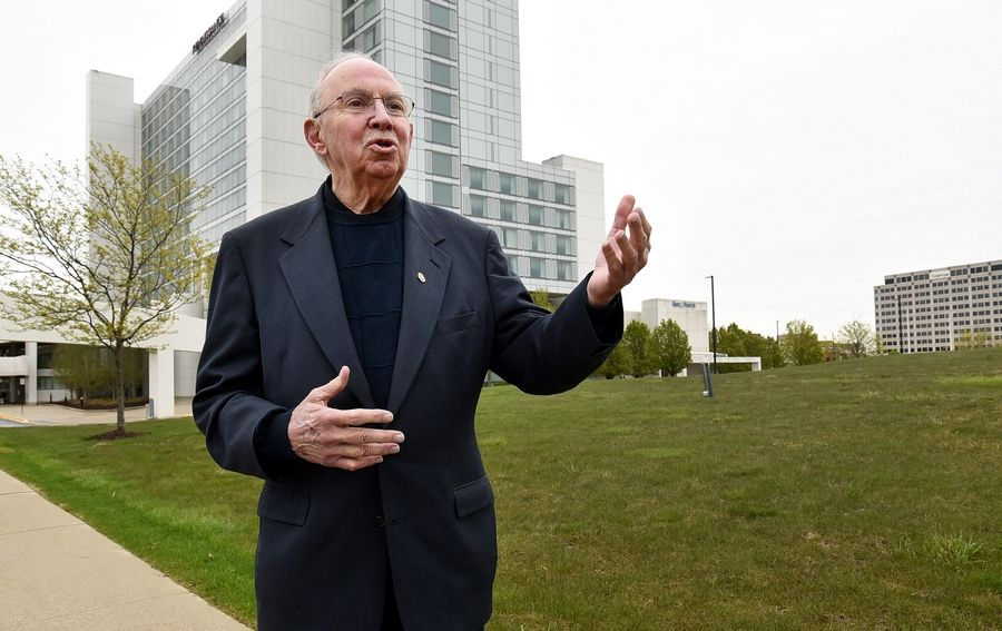Schaumburg Mayor Al Larson talks enthusiastically about the proposed plans for a 2,800-seat performing arts center on the west side of the village's Renaissance Hotel to anchor a future entertainment district and compete in the Chicago theater market.