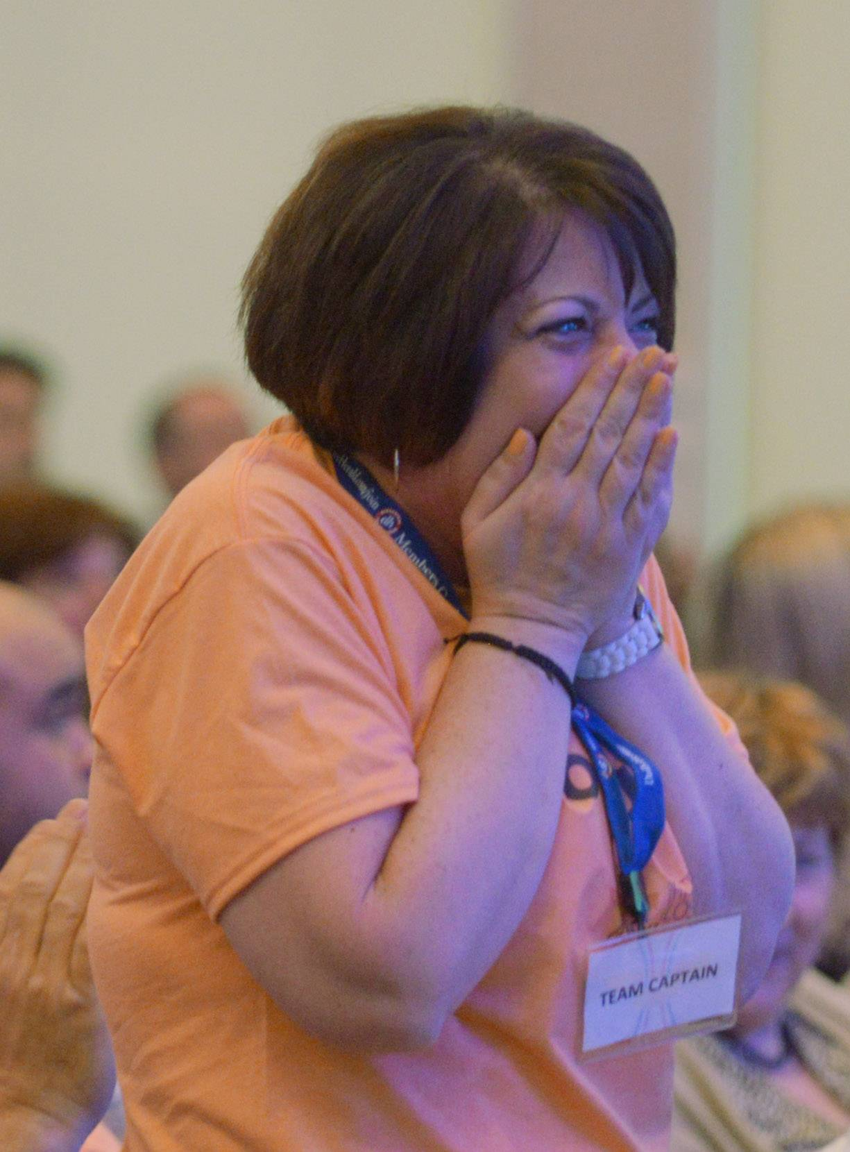 "Anna Maria Zito of Giacomo's ""Top Guns"" is surprised when she was announced as the female winner of the At Work individual challenge winner during the finale of the Fittest Loser competition."