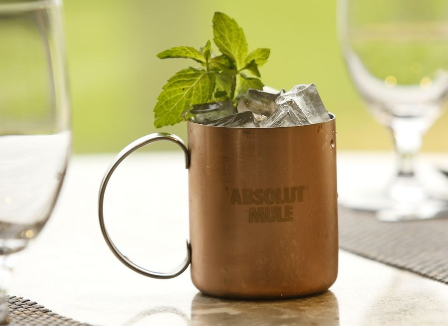 Cool off with an Absolut Elyx Moscow Mule made by the bartenders at B. Restaurant in Oak Brook.
