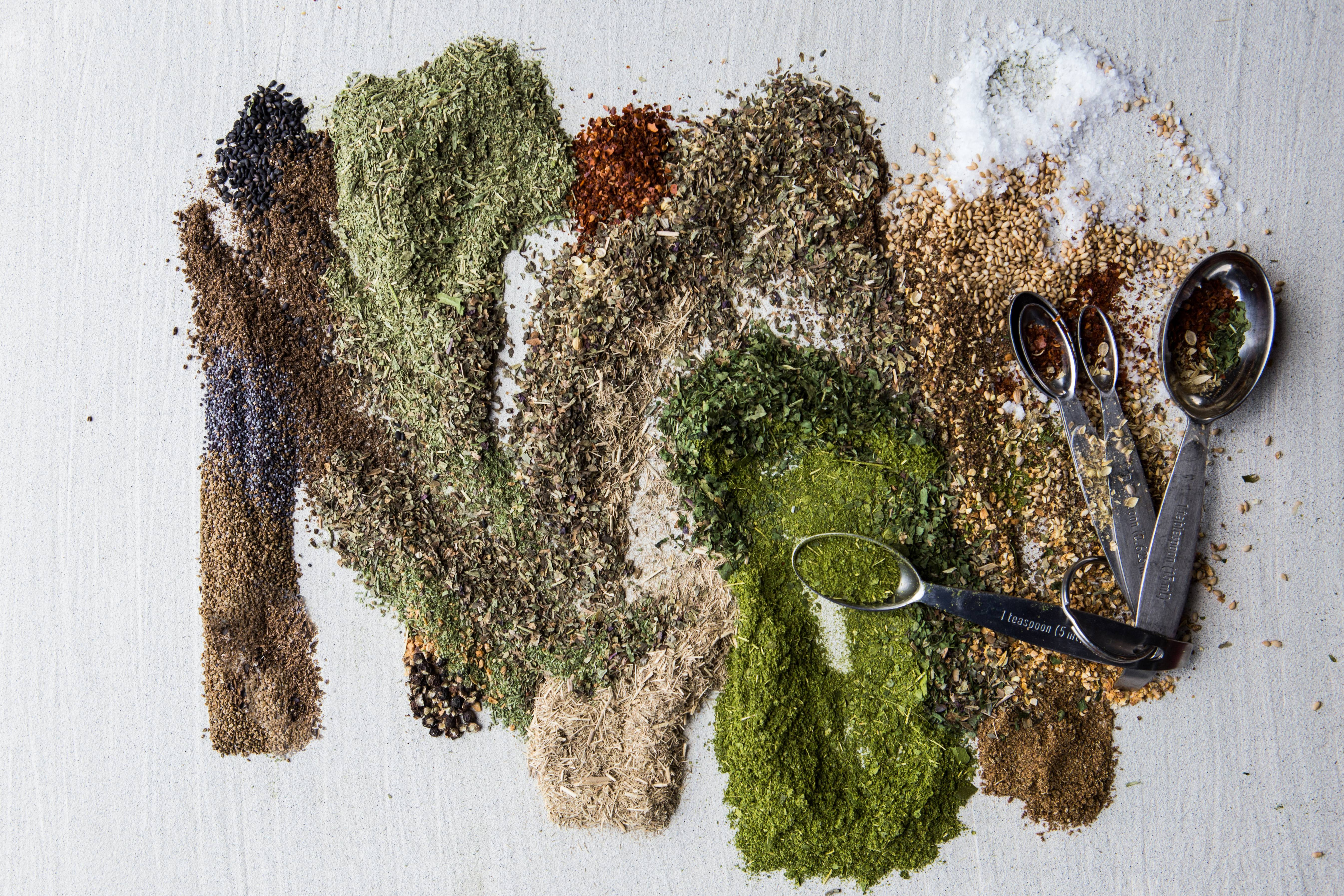 Take those leftover bits of different dried spices and herbs -- and blend them.
