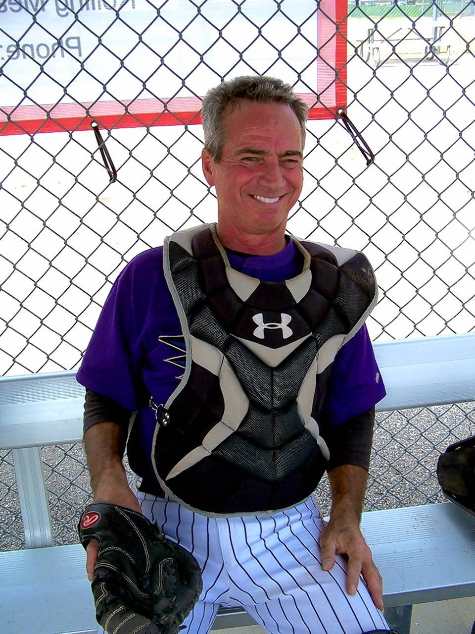 "Barrington Hills resident Don Gragnani, 61, is catcher for the Algonquin Bats men's senior baseball team. ""As long as I'm able to do this, I'm going to keep doing it,"" Gragnani said."