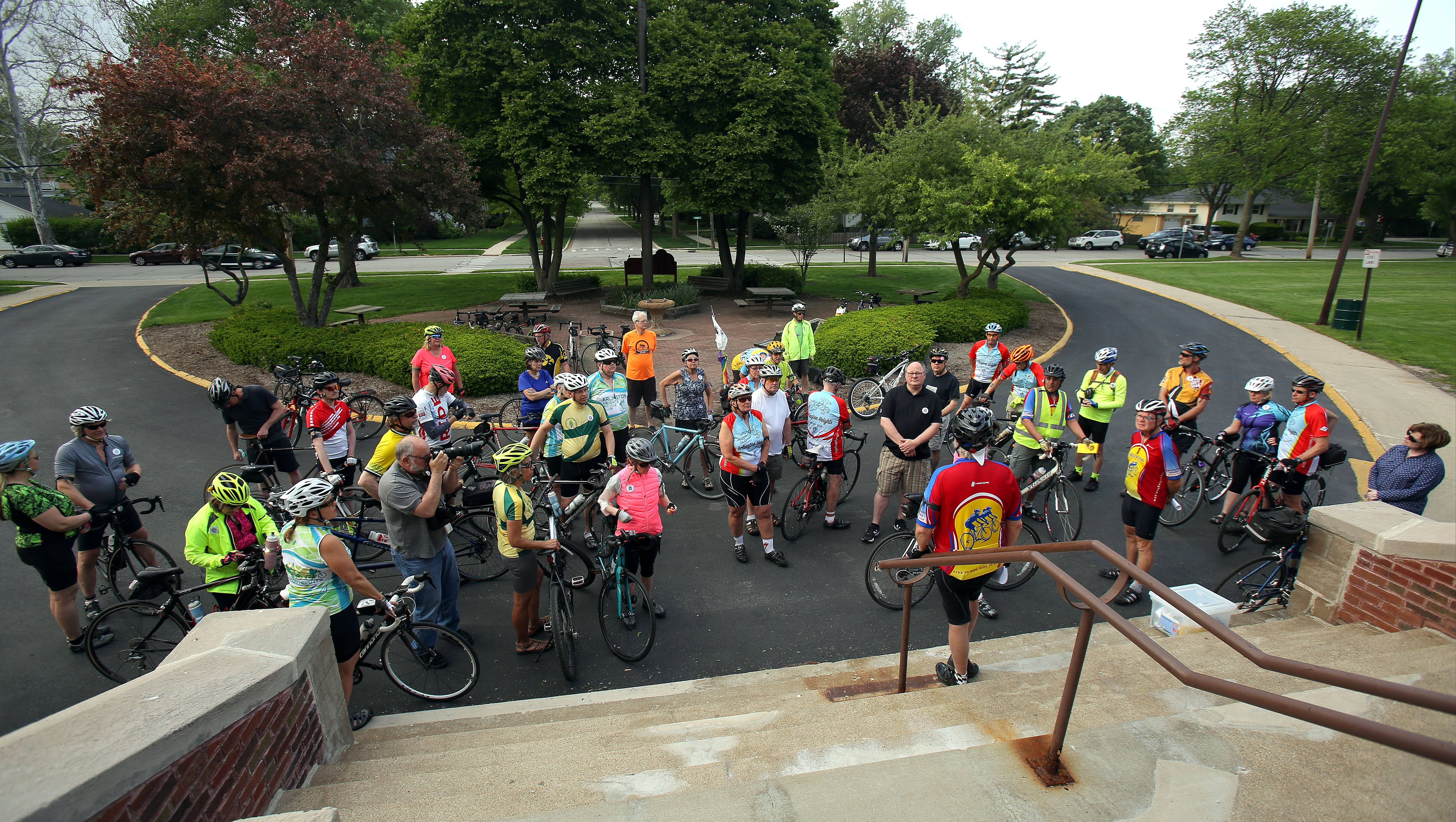 Members of the Arlington Heights Bicycle Club gathered at Recreation Park in Arlington Heights Wednesday to participate in the International Ride of Silence. They rode this year in honor of Mount Prospect cyclist Jodi Beaudry who died on June, 9, 2016, after being struck by an SUV.