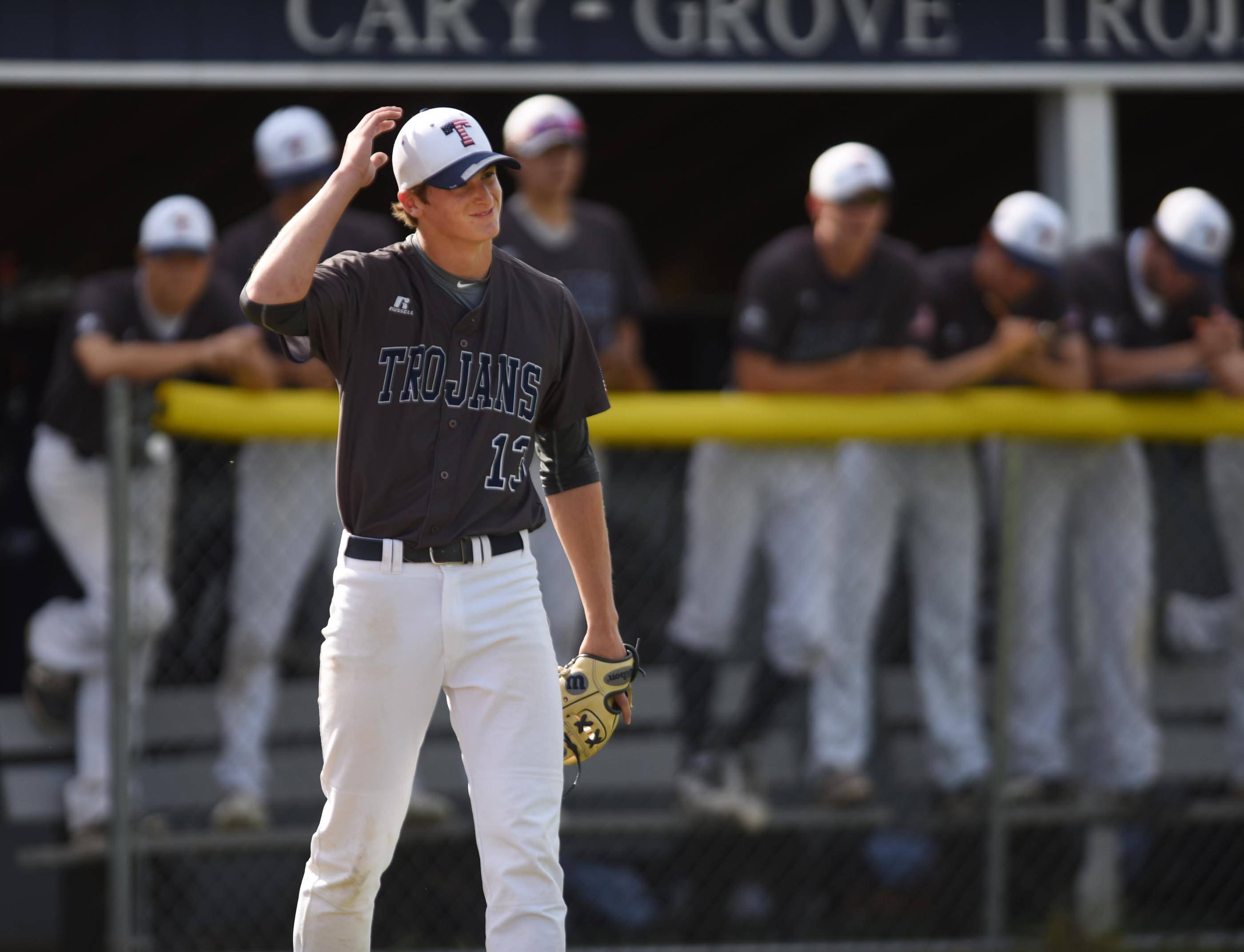 Cary-Grove pitcher Quinn Priester reacts after another error and another unearned run in the first inning against Crystal Lake South Thursday in Cary.