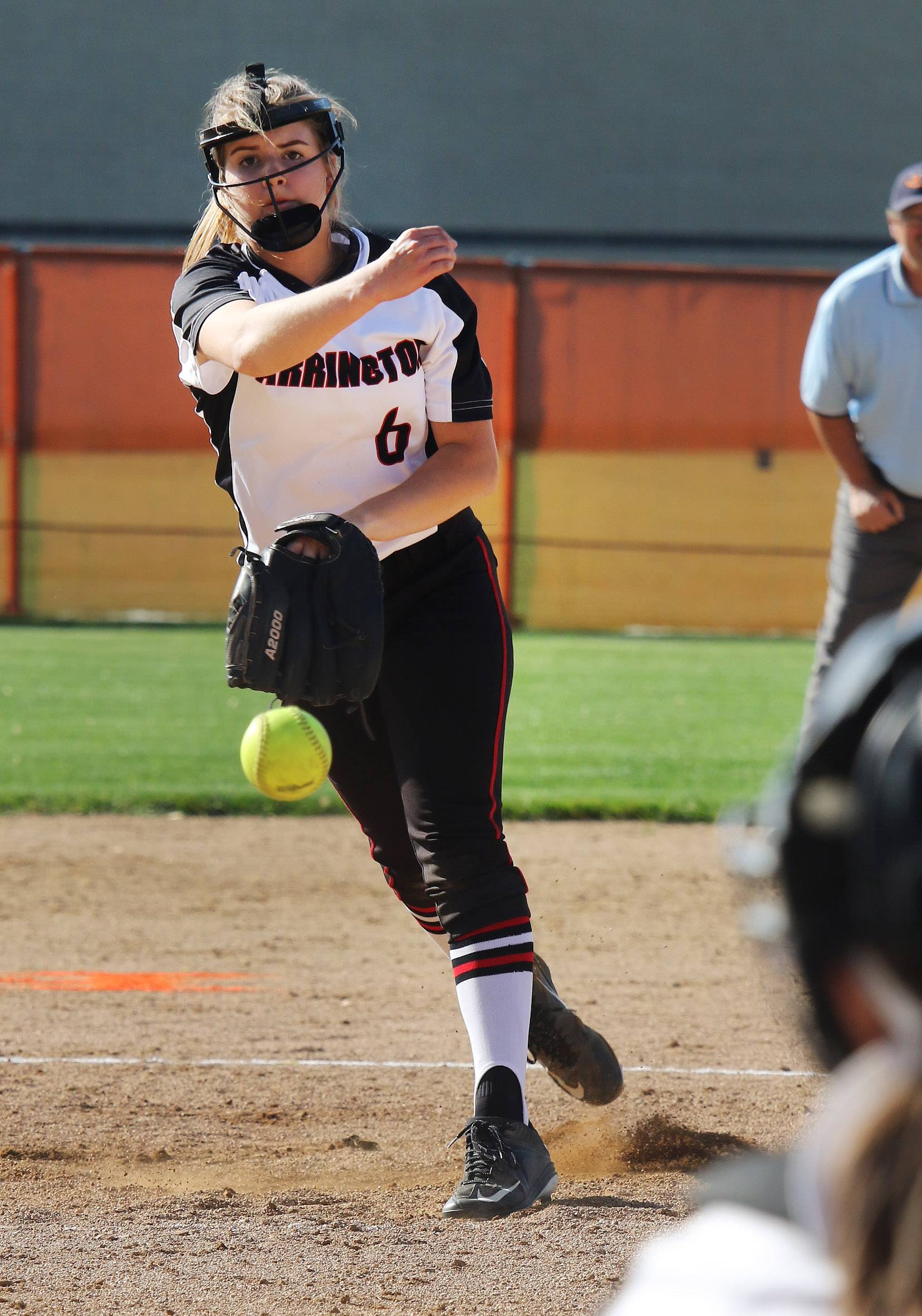 Barrington pitcher Catherine McMahon delivers during the Mid-Suburban League championship game Thursday at Hersey.